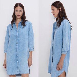 NWT ZARA 'THE LONG DENIM SHIRT DRESS'